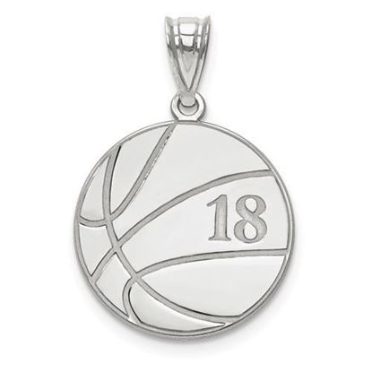 Personalized Basketball Pendant Sterling Silver Name and Number