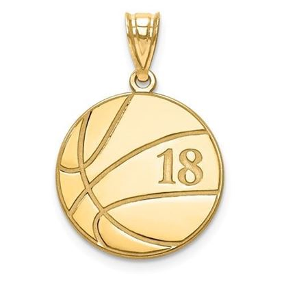 Personalized Basketball Pendant Gold-plated Sterling Silver Name and Number