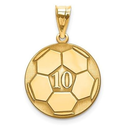 Personalized Soccer Ball Pendant Gold-plated Sterling Silver Name and Number