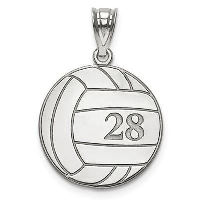 Personalized Volleyball Pendant Sterling Silver Name and Number