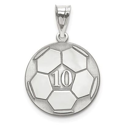 Personalized Soccer Ball Pendant Sterling Silver Name and Number