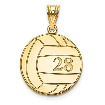 Personalized Volleyball Pendant Gold-plated Sterling Silver Name and Number