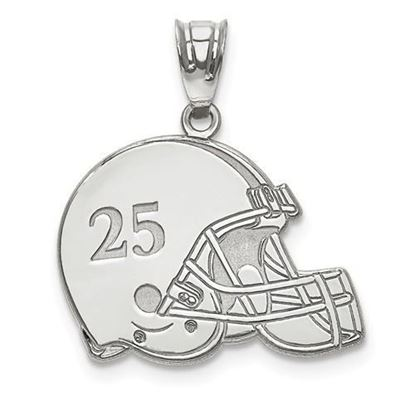Personalized Football Helmet Pendant Sterling Silver Name and Number