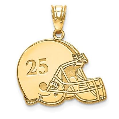Personalized Football Helmet Pendant Gold-plated Sterling Silver Name and Number