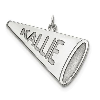 Personalized Cheerleader Megaphone Charm Pendant Sterling Silver