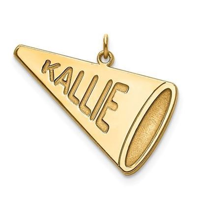 Personalized Cheerleader Megaphone Charm Pendant Gold-plated Sterling Silver