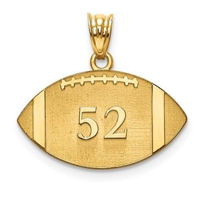 Personalized Football Pendant Gold-plated Sterling Silver Name and Number