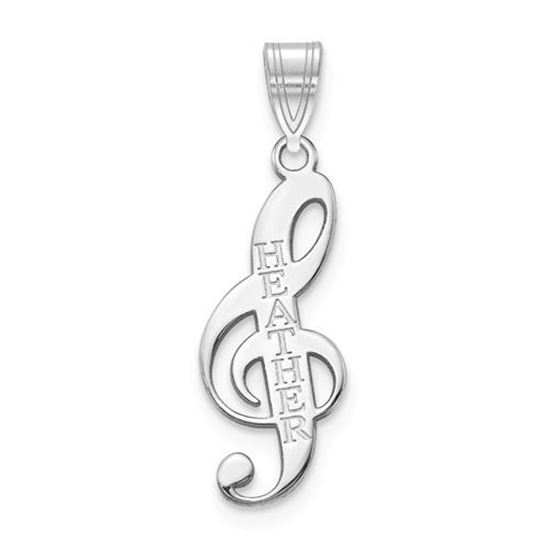 Personalized Music Note Sterling Silver Name Charm Pendant