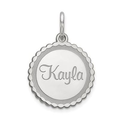 Personalized Name Plate Rhodium-plated Sterling Silver Pendant