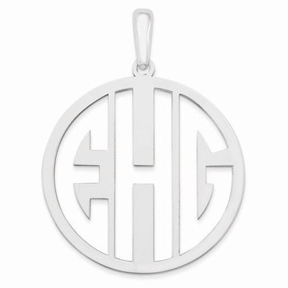 Personalized Monogram Circle Pendant Rhodium-plated Sterling Silver