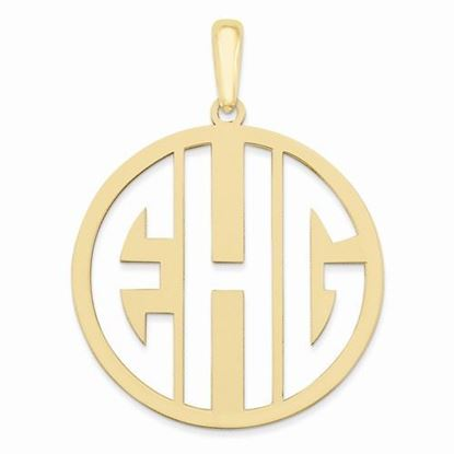Personalized Monogram Circle Pendant Gold-plated Sterling Silver