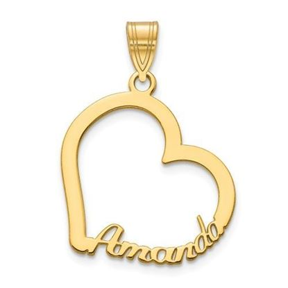 Personzalized Heart Gold-plated Sterling Silver Name Charm Pendant
