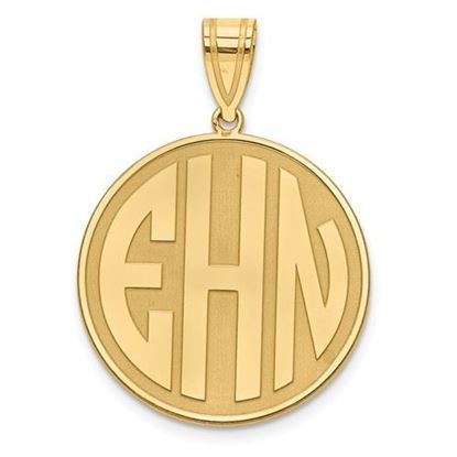 Personalized Monogram Block Letter Circle Pendant Gold-plated Sterling Silver