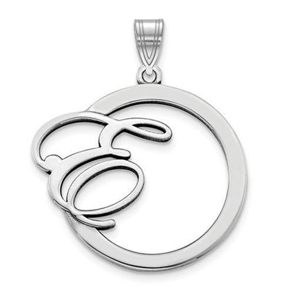 Personalized Circle Pendant Satin Initial Rhodium-plated Sterling Silver