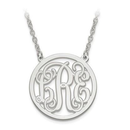 Personalized Monogram Circle Necklace Rhodium-plated Sterling Silver