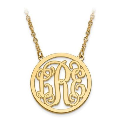 Personalized Monogram Circle Necklace Gold-plated Sterling Silver