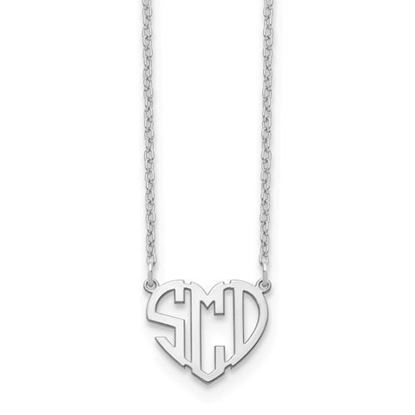 Personalized Monogram Heart Shaped Necklace Rhodium-plated Sterling Silver