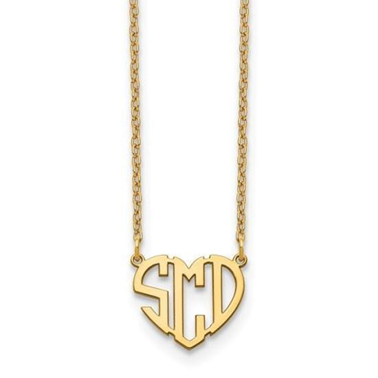 Personalized Monogram Heart Shaped Necklace Gold-plated Sterling Silver