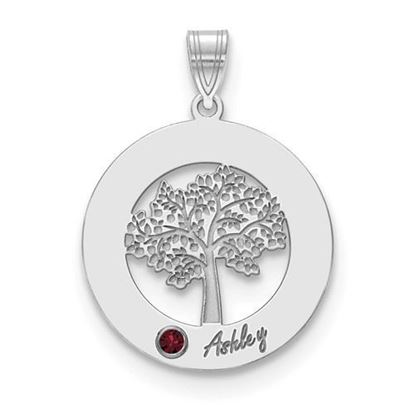 Personalized One Name One Birthstone Sterling Silver Circle Charm Pendant