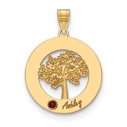 Personalized One Name One Birthstone Gold-plated Circle Charm Pendant