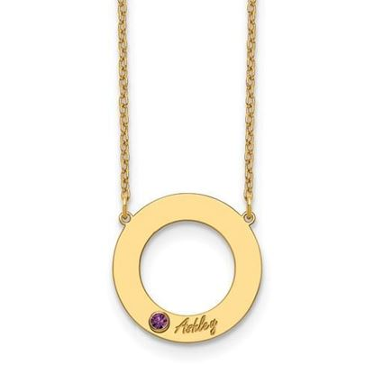 Personalized One Name One Birthstone Gold-plated Cutout Circle Necklace