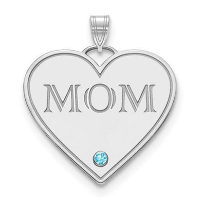 "Sterling Silver One Birthstone ""MOM"" Heart Charm Pendant"