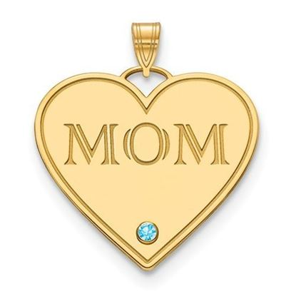 "Gold-plated One Birthstone ""MOM"" Heart Charm Pendant"