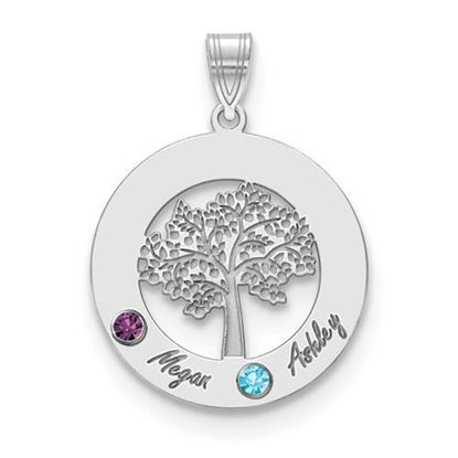 Personalized Two Name Two Birthstones Sterling Silver Circle Charm Pendant