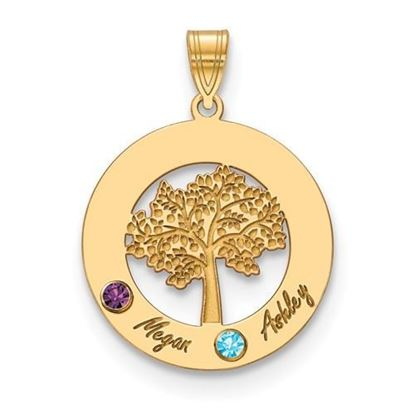 Personalized Two Name Two Birthstones Gold-plated Circle Charm Pendant