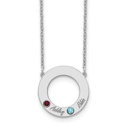 Personalized Two Name Two Birthstones Sterling Silver Cutout Circle Necklace