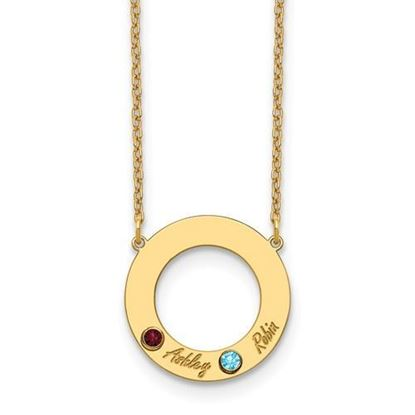 Personalized Two Name Two Birthstones Gold-plated Cutout Circle Necklace
