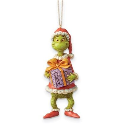 Grinch Holding Present Ornament-JIM SHORE