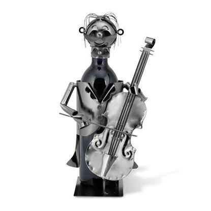 Cello Player Metal Wine Caddy