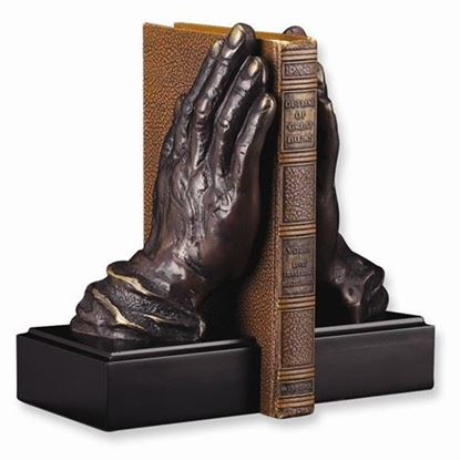 Antiqued Brass and Wood Praying Hands Bookends