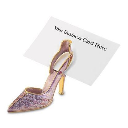 Bejeweled Crystal Enameled Lavender High Heel Card Holder