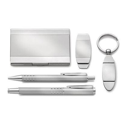 5 Piece Silver-tone Desk Set