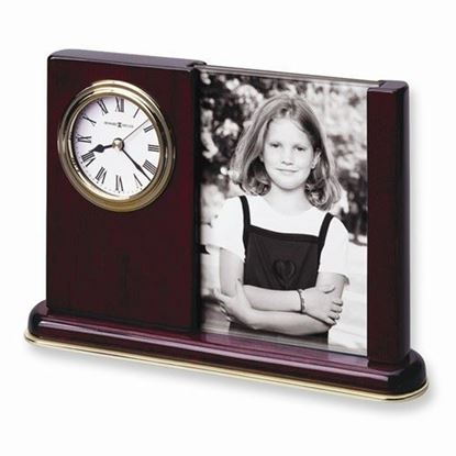 "Portrait Caddy Rosewood Finish Clock 3.5' x 5"" Photo"