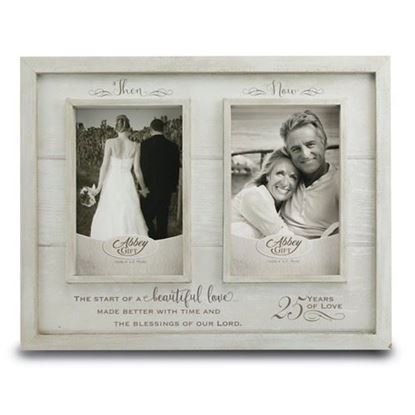 Then And Now 25th Anniversary Wood Frame Boxed