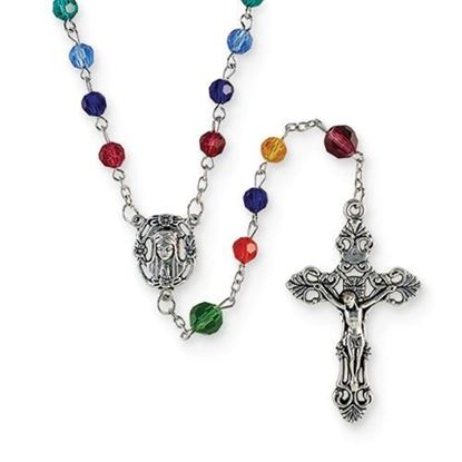 Creed® Italian Multi-color Cathedral Window Glass Rosary