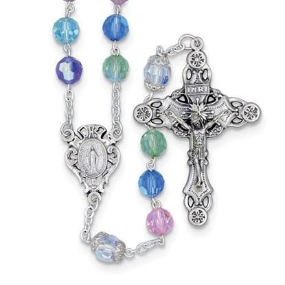Tin-cut Bohemian Multi-color Rosary