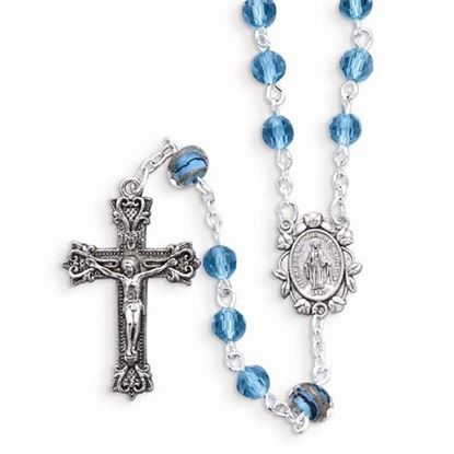 Aqua Color Bead Rosary