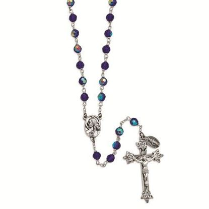 Dark Blue Czech Crystal Italian Rosary