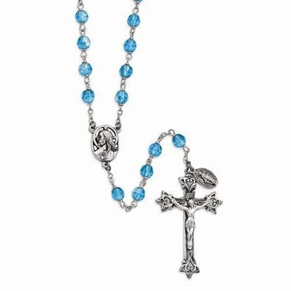 Aqua Czech Crystal Italian Rosary