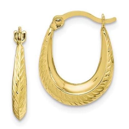 Picture of 10K Textured Hollow Hoop Earrings