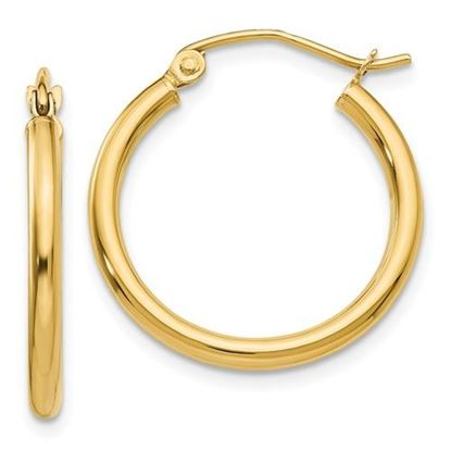 Picture of 10K Polished 2mm Tube Hoop Earrings