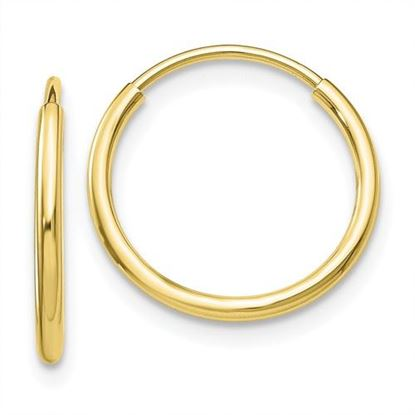 Picture of 10k Polished 15mm Diameter Endless Tube Hoop 1.2mm Earrings