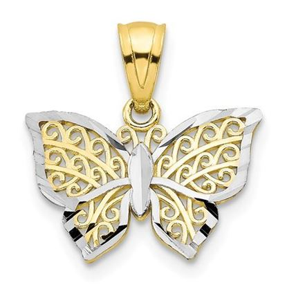 Picture of 10k Yellow Gold and Rhodium Butterfly Charm