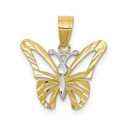 Picture of 10k Yellow Gold and Rhodium Butterfly Pendant