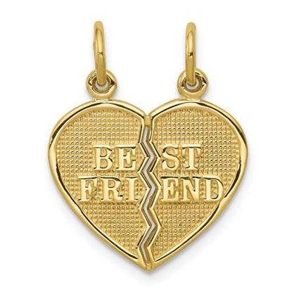 Picture of 10k Yellow Gold 2 Piece Break-Apart Best Friend Heart Charm