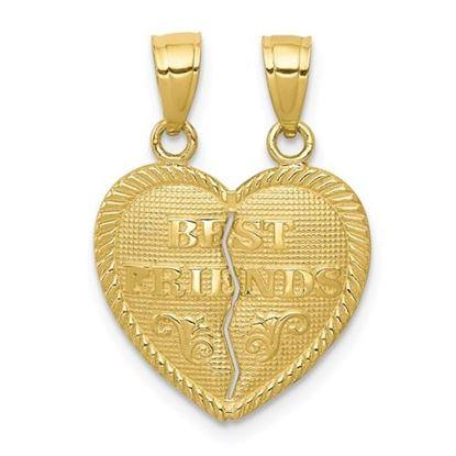 Picture of 10K Yellow Gold Best Friends Break-Apart Heart Charm
